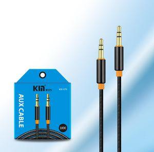3.5mm Jack Naylon Telefon MP3 Tablet PC Stereo Ses Kablosu için Bay Araba Aux Yardımcı Cord için Kablo Metal Jack Erkek örgülü