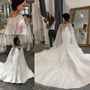 Plus Size Mermaid Sexy Wedding Dresses Beaded Crystals With A Cloak wrap 2020 Arabic Bridal Dresses Stylish Wedding Gowns