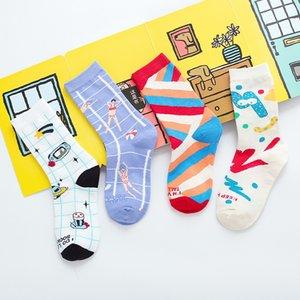 Women Socks Middle Tube Cartoon Cute Funny Girls Socks 2020 New Fashion