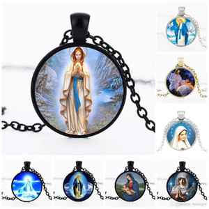 Заявление ожерелья женщины мужчины крест Девы Марии Иисуса кулон ожерелье христианские ювелирные аксессуары религиозные ожерелье