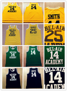Genähter Film der frische Prinz von Bel-Air # 14 Will Smith Academy 25 Carlton Banks Schwarz Green Yellow Basketball Jersey gestickt genäht