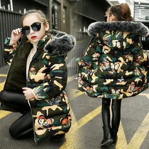 Розничная розничная рождественские девушки зима вниз пальто толстые камуфляжные теплые куртки детские дизайнерские пальто мода хлопковая куртка толстовая одежда