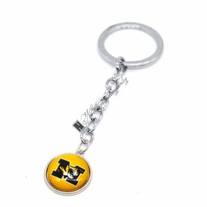 2019 Football Jewelry Keychain NCAA Missouri Tigers Charms  18mm Snap Button Charms Car Keyring for Women Men Gift