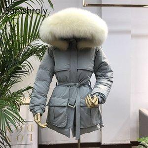 Sanishroly New Winter Women Short Outerwear Warm Thicken White Duck Down Jacket Parka Cinturón femenino Big Fur Collar Abrigo con capucha 681