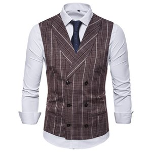 Mens Stripe Plaid Formal Blazer Vests Casual Double Breasted V-neck Fashion S-2XL Male England Style Casual Vests EUR Size