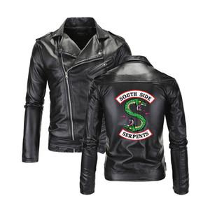 Southside Riverdale -Aşağı Yaka Deri Ceket Serpens Erkekler Riverdale Streetwear Deri Marka Güney Yan Serpents Boyut M-4XL çevirin Soğuk
