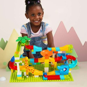 52-143Pcs Marble Race Run Maze Ball Track Building Block Funnel Slide Large Size Building Brick Compatible with ed Duploed