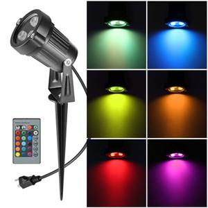 AUCD Uzaktan Mini 6W RGB LED Çimen Lambalar Açık IP65 su geçirmez Spotlight Aydınlatma Ampüller Bahçe Peyzaj Işık GO-L01-RGB