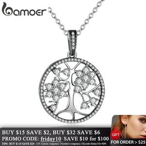 BAMOER Klasik Kadınlar Güzel Takı Sevgililer Günü HEDİYE PSN013 V191202 hayat Yuvarlak kolye kolyeler 925 Gümüş Ağacı