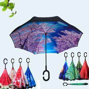 Antivento protezione solare portatile ombrello impermeabile Reverse ombrello pieghevole creativo pieghevole C-type logo personalizzato Umbrella DH0621