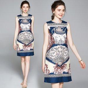 Venta al por mayor señoras del diseñador de pista de lujo de verano de la vendimia impresión sin mangas del chaleco vestidos de la calle nueva moda estilo de las mujeres una línea de vestido de fiesta