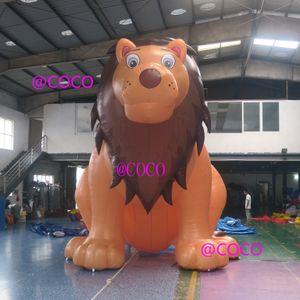 5M / 17FT Реклама на открытом воздухе Blow Blow Lion Cartoon, гигантский надувной цветной дисплей животных льва