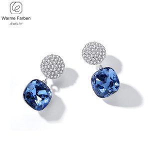 Warme Farben cristalina de los pendientes de las mujeres 2020 New Shine con incrustaciones de cristal de circón plaza pendiente de gota de joyería fina pendiente
