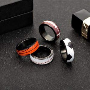 8mm Rotate Sports Rings For Men Stainless Steel Black Football Basketball Rugby Soccer Baseball Ball Ring Fans Gift