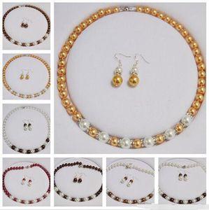 Anudadas a mano hermoso blanco 8x10m m / / oro rojo / marrón / amarillo / gris perla de la cáscara / de los granos redondos 45cm collar pendientes conjunto 2set / lot de la mezcla de bienvenida