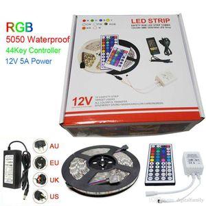 Led Strip Light RGB 5M 5050 SMD 300Led Impermeabile IP65 + 44Key Controller + Trasformatore di alimentazione Con scatola Regali di Natale Pacchetto di vendita al dettaglio