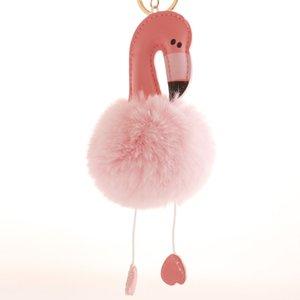New Fashion 8 CM Imitation Rex Rabbit PomPom Ball Flamingo Key Ring keychain Hanging Jewelry Ladies Fur Bag Pendant