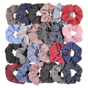 24 colori supporto del ponytail fasce per capelli Scrunchy elastica griglia banda Dot Capelli scrunchy Hairbands Cravatte Corde per le donne Ragazze