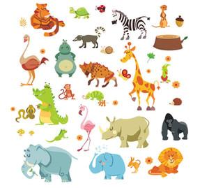 Funny Happy Zoo Cute Dinosaur Zebra Giraffe Snake Wall Stickers For Kids Rooms Baby Home Decor Cartoon Animals Decals Diy Mural D19011702