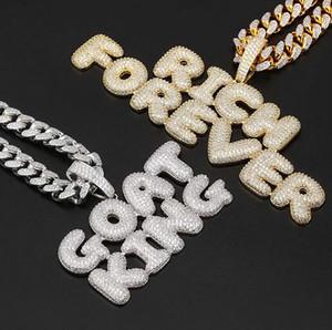 Hommes Hip Hop Nom personnalisé Combinaison Bubble Lettre Pendentif Collier Micro cubique Cuivre Or Rose Argent Or Zircone Pendentif Collier
