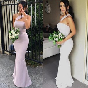 2020 neue moderne Nixe Brautjungfernkleider für Hochzeiten Satin eine Schulter ärmellose bodenlangen Plus Size Formal Maid of Honor Kleider