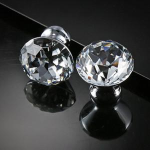 Delicate Crystal Glass Knobs Tirones del armario 30mm Forma de diamante Manijas del diseño Cajones Perillas Muebles de cocina Manijas del gabinete DH0921 T03