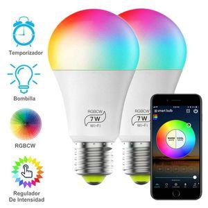 Smart LED-Birne RGBCW Wi-Fi Inteligente Licht 7W 600LM: Bunt Dimmbare App Party Disco Farbe Controlled Wechsel Glühbirne 2700K-6500K