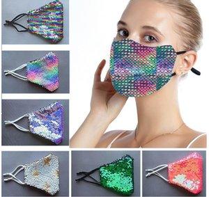 Bunte Pailletten Masken Helle Silk Paillette Persönlichkeit Masken Mode Thin Section Anti-Schleier Cotton Sonnenschutz Sommer Masken XD23652