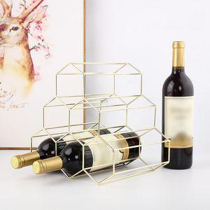 6 Bottle Wine Rack Metal Freestanding Kitchen Storage Stand Wine Cabinet Grape Wine Shelf Display Bar Beautiful Geometric Iron