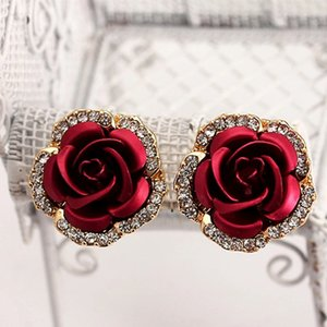 11 Colors Romantic Red Rose Floral Stud Earrings Womens Vintage Elegant Jewelry Diamond Earrings Valentine's Day Gifts