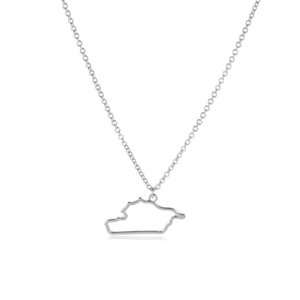 12pcs Outline Asia Syria map State geography country Necklace hollow city Hometown geometric souvenir Clavicle Pendant Necklace Jewelry
