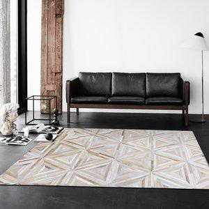 Modern Style de luxe en cuir de vache Seamed Patchwork Tapis naturel Peau de vache Triangles Tapis pour Salon Chambre Décoration Tapis