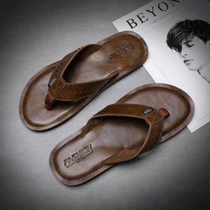 Novo Estilo Verão Homens Chinelos Couro Flip Flops antiderrapante couro genuíno Casual Retro chinelos de praia Shoes