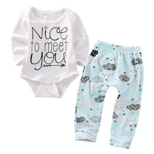 Bebek Erkek Bebek Kız Giyim Yenidoğan Üst Güzel için Meet You Romper + Çiçek Uzun Pantolon Tayt Kıyafet Seti 0-24M yazdır