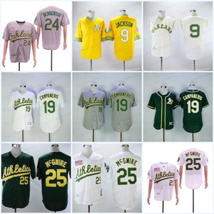 Homens 33 Jose Canseco 1989 25 MarkMcGwire Baseball Jersey 9 Reggie Jackson 19 Bert Campaneris 24 Rickey Henderson Jerseys Top Quality