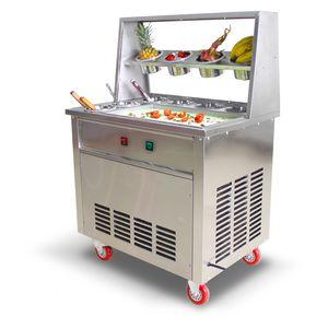 Завод Цена Двойного Круглый Пан Коммерческого Жареное Мороженое машин Fry Мороженое машина Таиланд Ice Ролл Фрид