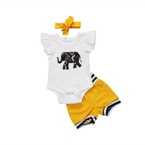 Pudcoco 2020 Baby Set Newborn Child Baby Girls Boys Elephant Tops Romper Shorts Bottoms Outfits Set Clothes 0-18M
