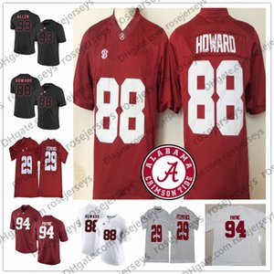 NCAA Alabama Crimson Tide # 73 Giona Williams 88 GU Howard 93 Jonathan Allen 94 Da'Ron Payne Rosso calcio bianco Jersey