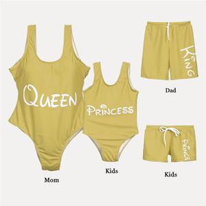 Padres ropa -child Coincidencia de la familia del traje de baño del bikini Mom Daughter Mono papá Hijo del tronco Pantalones cortos Ropa de playa de verano 2019