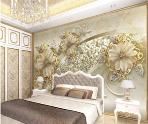 Golden 3d stereo European pattern jewelry TV background wall modern wallpaper for living room