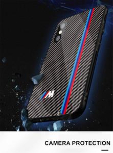 Caso della copertura in fibra di carbonio caldo Motorsport RS AMG per iPhone 7 8 Plus X XS MAX XR GTR lusso caso Vetro temperato Car Phone
