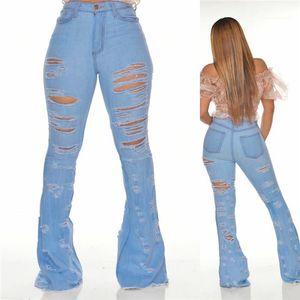 Stretch Slim Fit Bayan Pantolon Kadınlar Tasarımcı Pantolon Flare Jeans Bayan Delik Denim Jeans Ripped Delik Pantolon