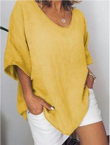 Модные Летние Женские Футболки С Коротким Рукавом Плюс Размер Свободные Льняные Блузки Повседневная Пляжная Одежда Чистый Цвет Топы