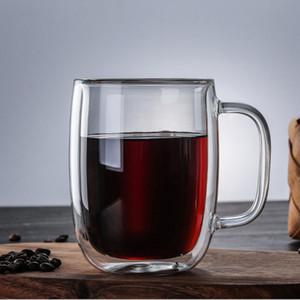 Nordic Glas Doppelwand aus transparenter wärmebeständiger Kaffeetasse Milch-Tee Tassen Wasser mit Handgriff Tumbler Geschenk Cafe Trinkgefäßen