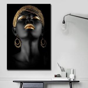 Impression noire femme africaine toile Wall Art Peinture abstraite Peintures de toile pour mur et Home Decor Salon decoraction