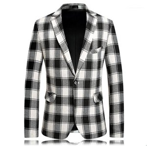 Single Breasted Men Designer Plaid Printed Blazers Casual Men Lapel Neck Outerwear Winter Male Coat with