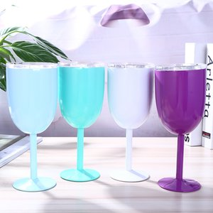 10oz stainless steel wine glass double insulated creative mug auto glass goblet red wine glass with lid 9colors in stock A03