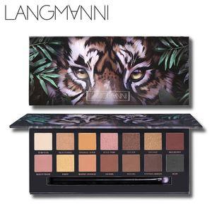 LANGMANNI 14 Color Nude Shining Lidschatten-Palette Wasserdicht Smoky Eye Shadow Pallete Matt Powder Cosmetics