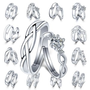 Adjustable Silver Couple Rings Diamond Heart Heartbeat Love Forever Rings women mens Engagement Wedding Ring will and sandy fashion jewelry