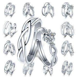 Регулируемая Серебро Пара Кольцо Алмазного сердце Heartbeat Love Forever Кольцо женщин мужской Обручальное кольцо Свадебного и песчаные ювелирные изделия способа